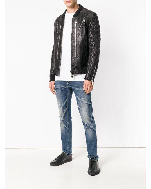 c0e974cb11 ... Philipp Plein - Black Triple Zip Bomber Jacket for Men - Lyst ...