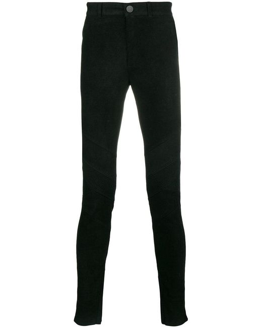 Forcerepublik - Black Slim Biker Trousers for Men - Lyst