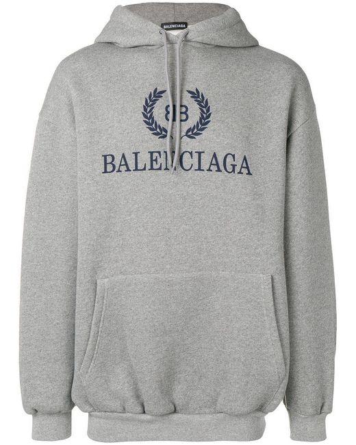 Balenciaga - Gray Kapuzenpullover mit Logo-Print for Men - Lyst