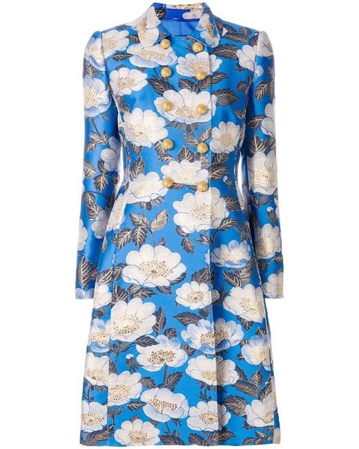 Dolce & Gabbana - Blue Floral Double Breasted Jacquard Coat - Lyst