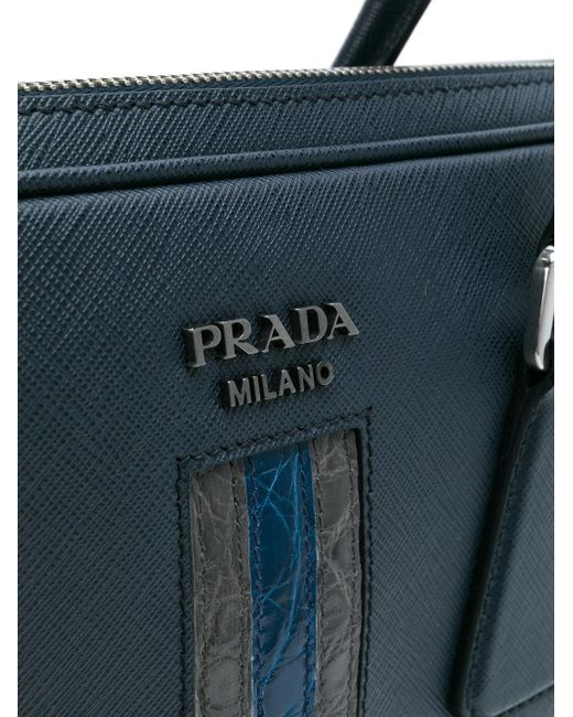 909dc26f9d ... official store prada blue contrast stripe laptop bag for men lyst 49813  dcf70