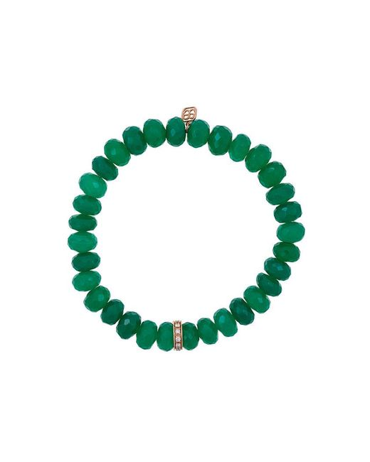 Sydney Evan - Green Onyx Beaded Bracelet With Diamond Wheel Rondelle Charm - Lyst