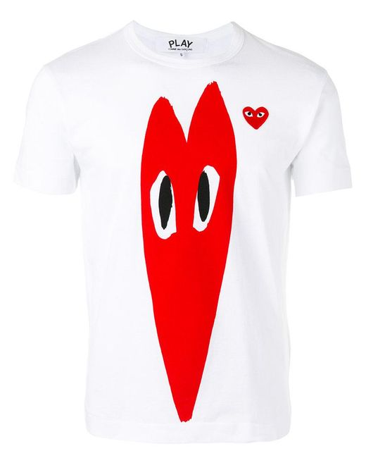Play Comme des Garçons - White Heart Print T-shirt for Men - Lyst