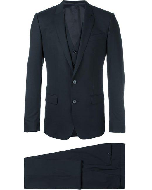 Dolce & Gabbana Blue Three Piece Suit for men
