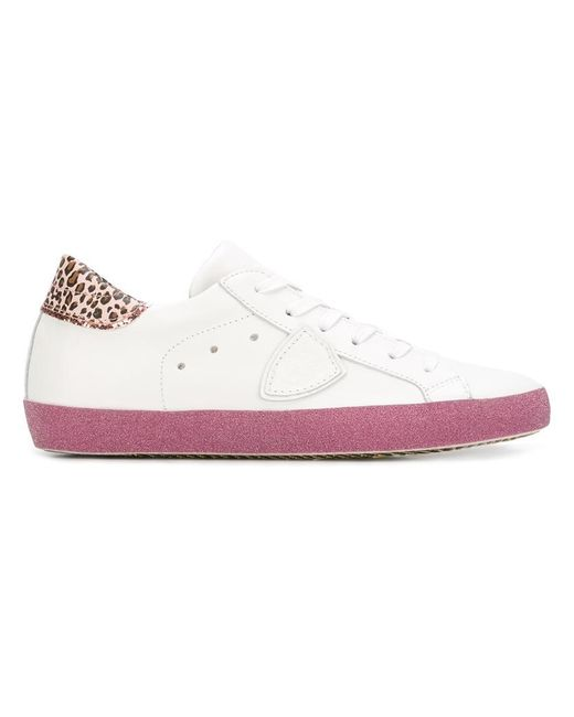 Philippe Model | White Leopard Print Detail Sneakers | Lyst