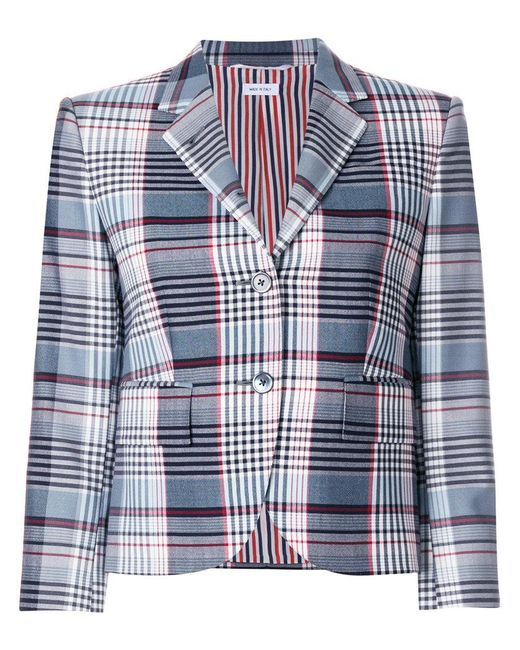 Thom Browne - Blue Madras Check Blazer - Lyst