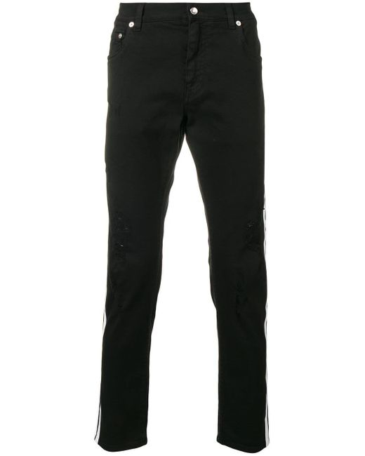 Dolce & Gabbana Black Contrasting Side Stripes Jeans for men