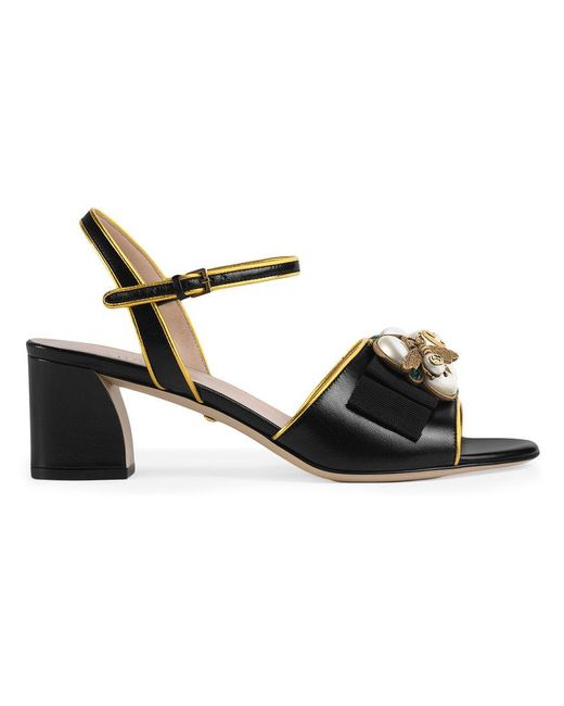 0e7ef353624f2 Gucci - Black Leather Mid-heel Sandal With Bee - Lyst ...