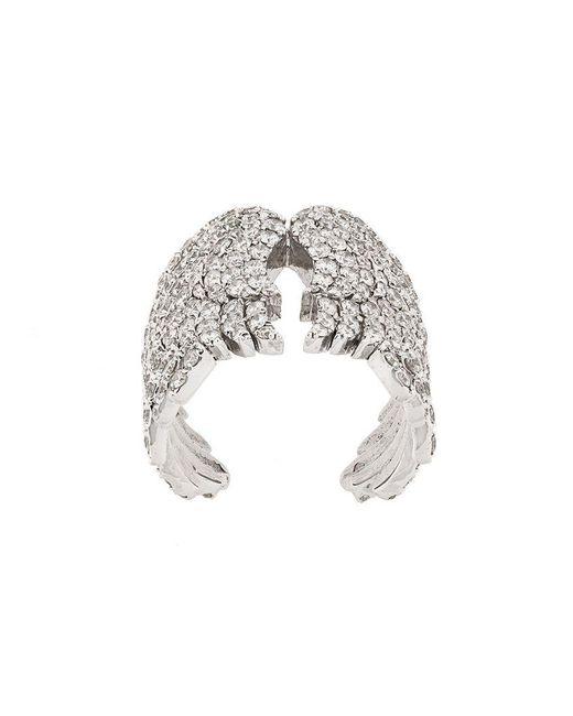 Monan - Metallic 18kt White Gold And Diamond Wing Cocktail Ring - Lyst