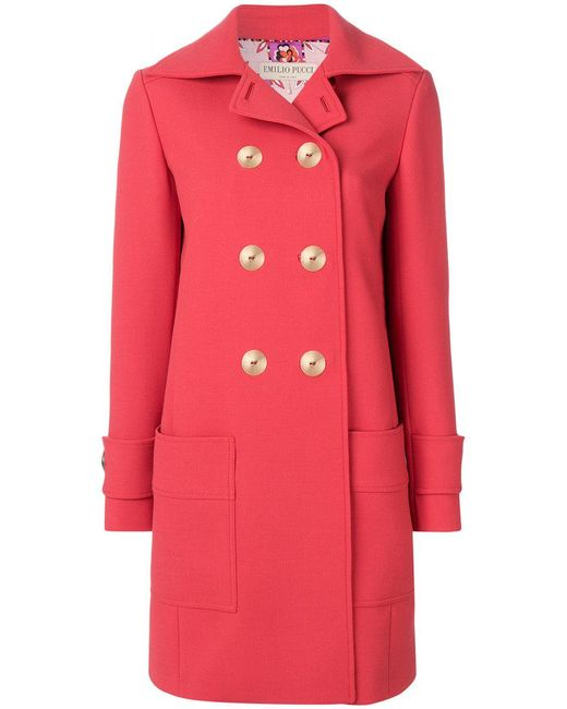 Emilio Pucci | Red Double-breasted Coat | Lyst