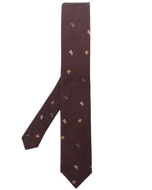 Prada - Brown Leaf Embroidered Tie for Men - Lyst