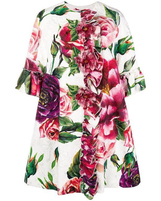 Dolce & Gabbana - White Peony Print Overcoat - Lyst