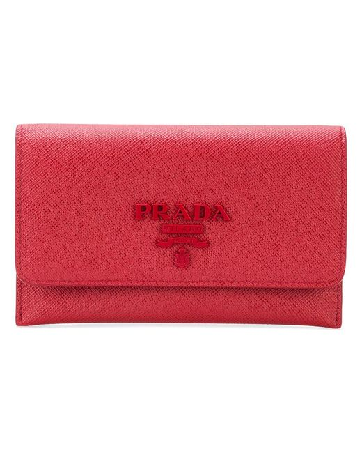 Prada - Red Saffiano Removable Card Case - Lyst