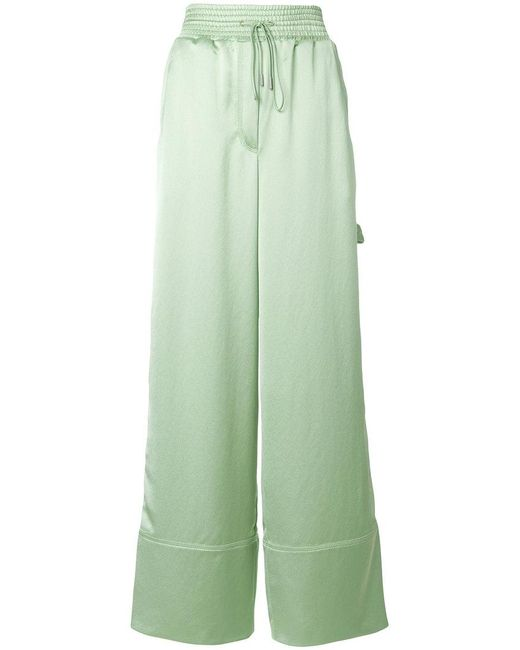 Off-White c/o Virgil Abloh - Green Satin Wide-leg Trousers - Lyst