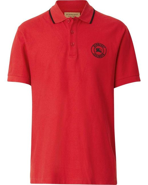 Burberry - Red Poloshirt mit Logo-Stickerei for Men - Lyst