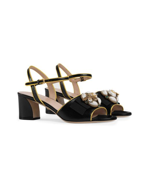 903d66dbf651 ... Gucci - Black Leather Mid-heel Sandal With Bee - Lyst