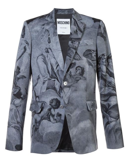 Moschino - Gray Blazer With Angels for Men - Lyst
