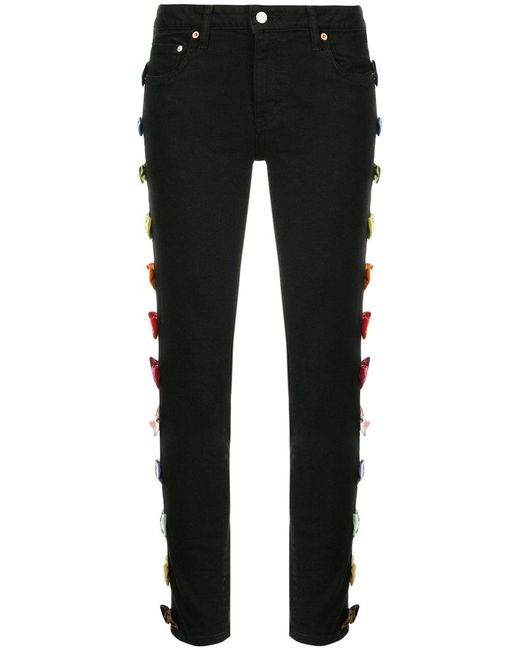 Tu Es Mon Tresor - Black Bow-embellished Skinny Jeans - Lyst