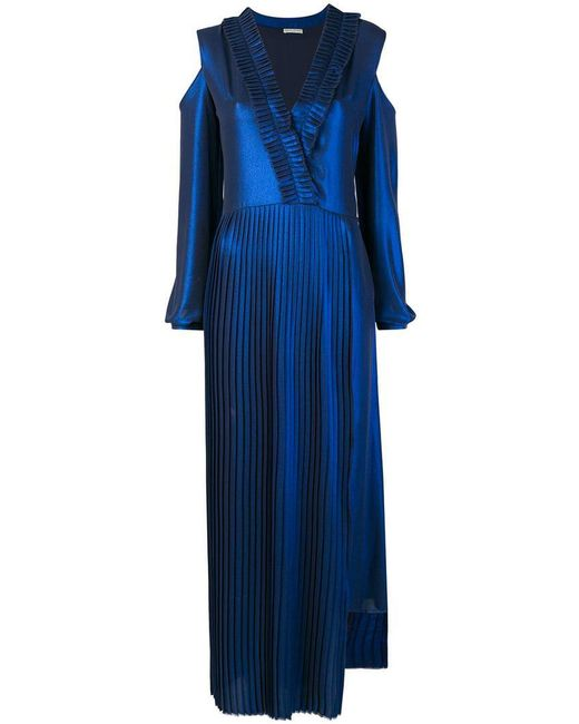 Each x Other - Blue Pleated Metallic Maxi Dress - Lyst