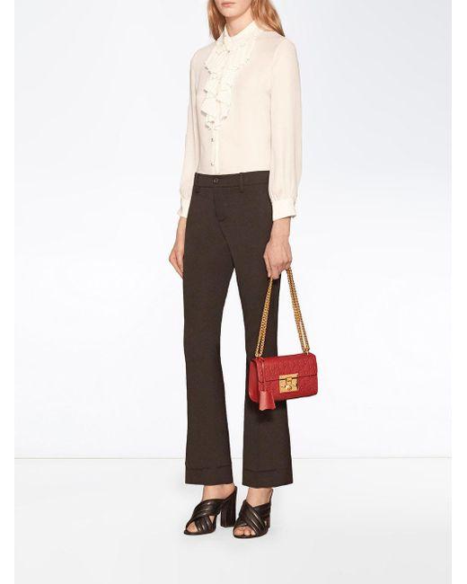 69815cec467a Lyst - Sac porté épaule Padlock Signature Gucci en coloris Rouge
