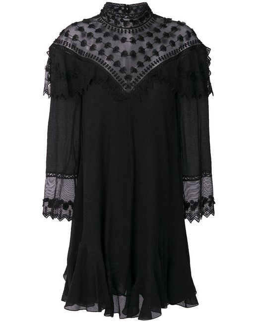 Chloé - Black Embroidered Flared Dress - Lyst