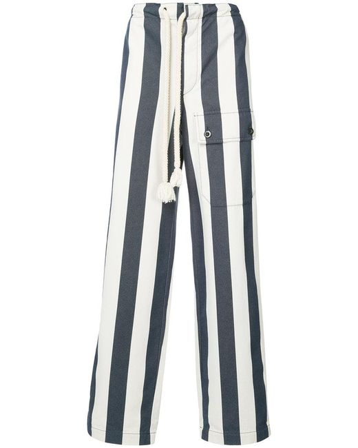 Loewe - White Striped Wide-leg Trousers for Men - Lyst