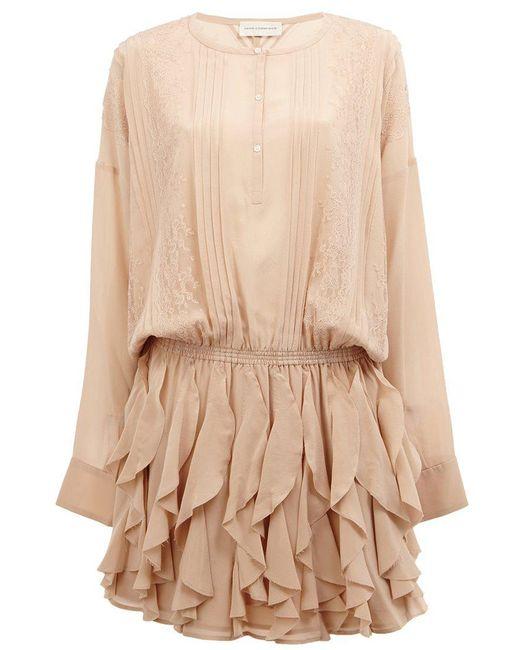 Faith Connexion - Natural Lace Detail Ruffled Dress - Lyst
