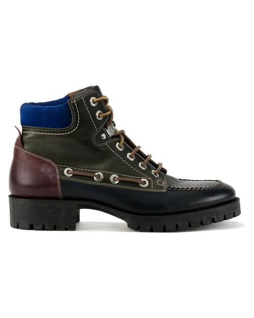 DSquared² - Black Leather Hiking Boots for Men - Lyst