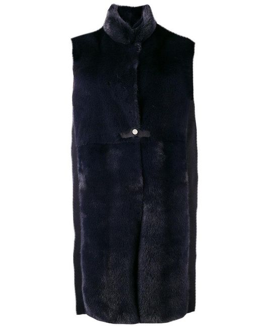 Manzoni 24 - Blue Sleeveless Fur Coat - Lyst