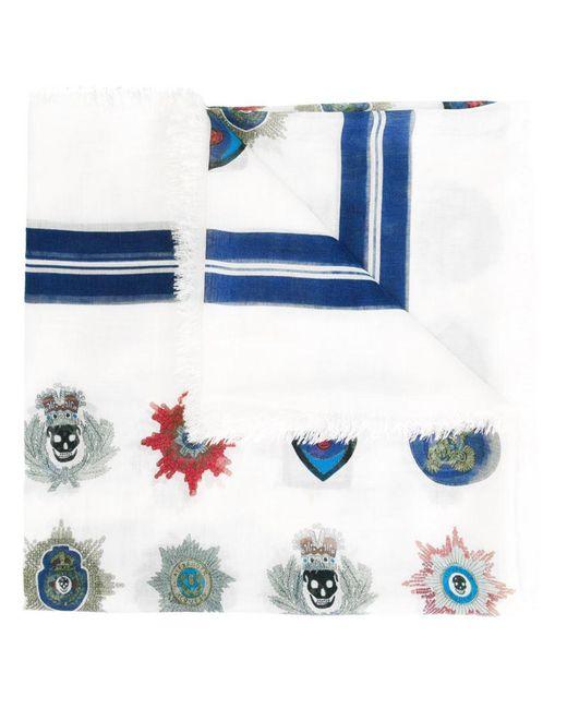 Alexander McQueen | Blue Skull Badge Scarf for Men | Lyst