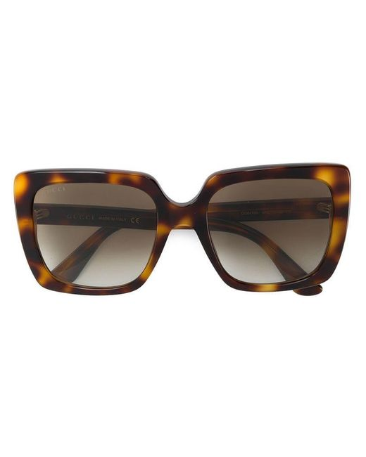 c2d0c2d1622 Gucci - Brown Square Shaped Sunglasses - Lyst ...