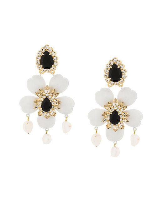 Shourouk   White Floral Pendant Earrings   Lyst