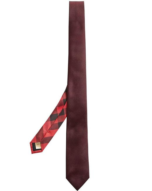 Burberry - Red Slim-cut Check Twill Tie for Men - Lyst