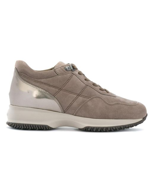 Hogan Brown Sneakers Con Tallone Metallizzato