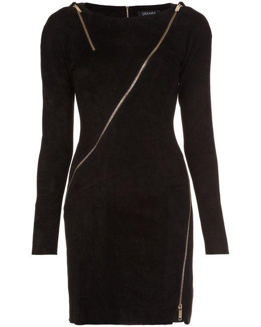 Jitrois - Black Longsleeved Allover Zipper Dress - Lyst