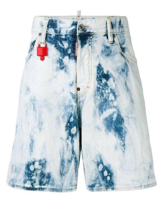 DSquared² - Blue Shorts vaqueros con efecto descolorido for Men - Lyst