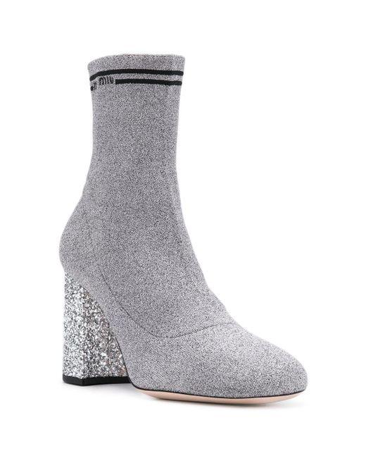 Descuento Miu Miu glitter heel lurex sock boots - Metallic Venta Tienda Online kRsljxqx