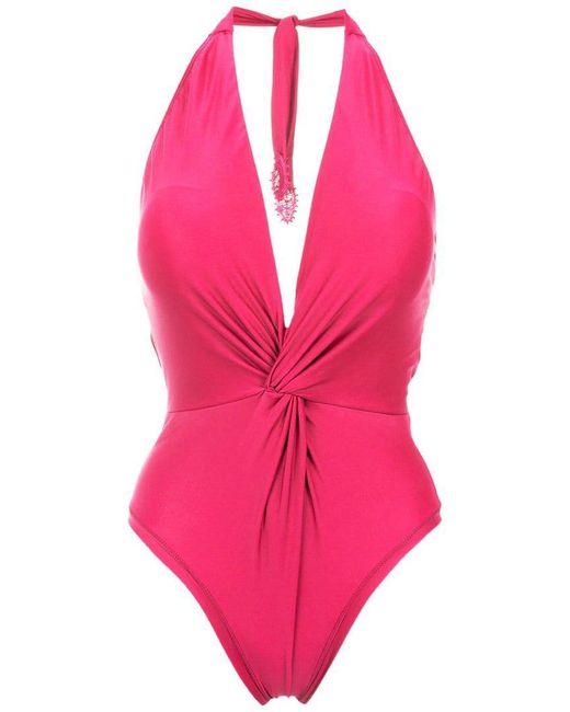 Martha Medeiros - Pink Twisted Detail Halterneck Swimsuit - Lyst