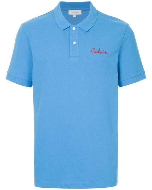 Calvin Klein - Blue Poloshirt mit Stickerei for Men - Lyst