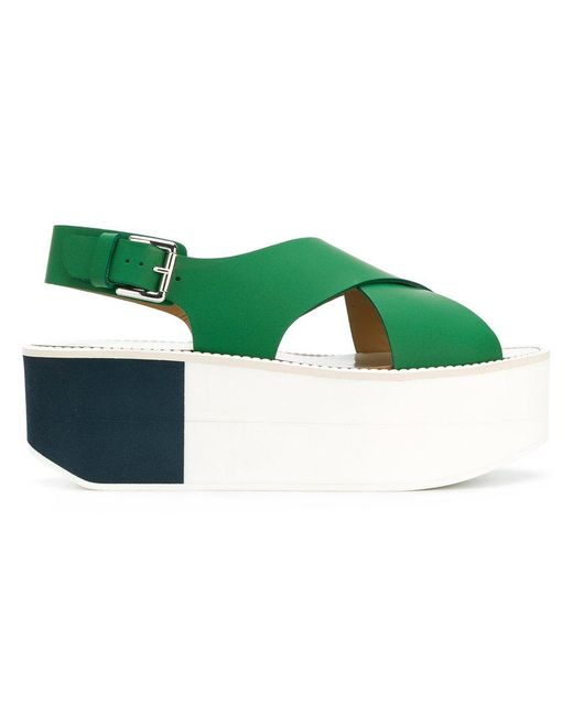 Flamingos - Green Colour-block Sandals - Lyst