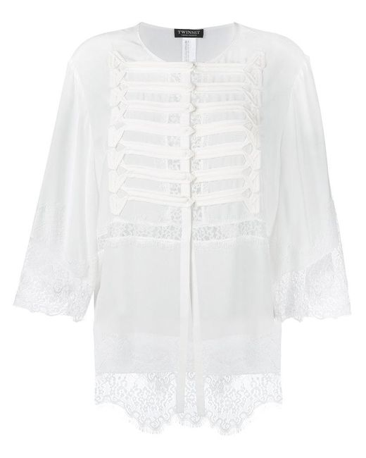 Twin Set | White Lace Detail Buttoned Blouse | Lyst