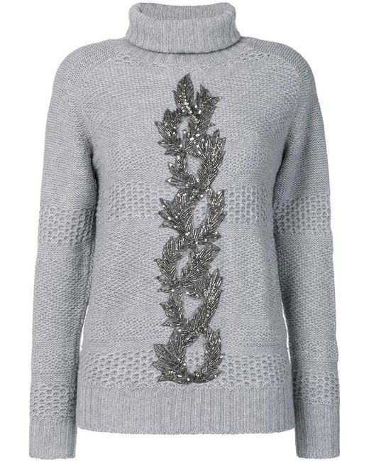 Jo No Fui - Gray Embellished Turtle Neck Sweater - Lyst