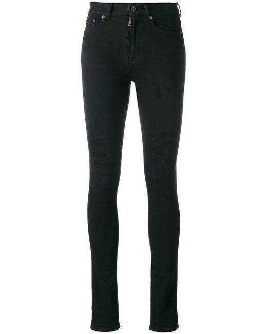 Saint Laurent - Black Distressed Skinny Jeans - Lyst