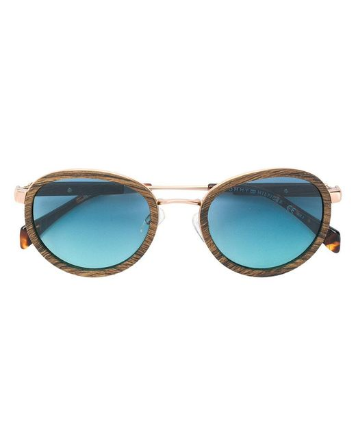Tommy Hilfiger - Brown Wood Effect Sunglasses - Lyst