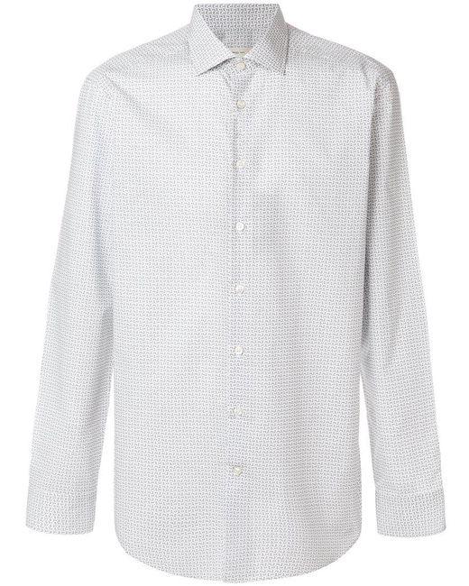 Etro - White Fine Paisley Print Curved Hem Shirt for Men - Lyst