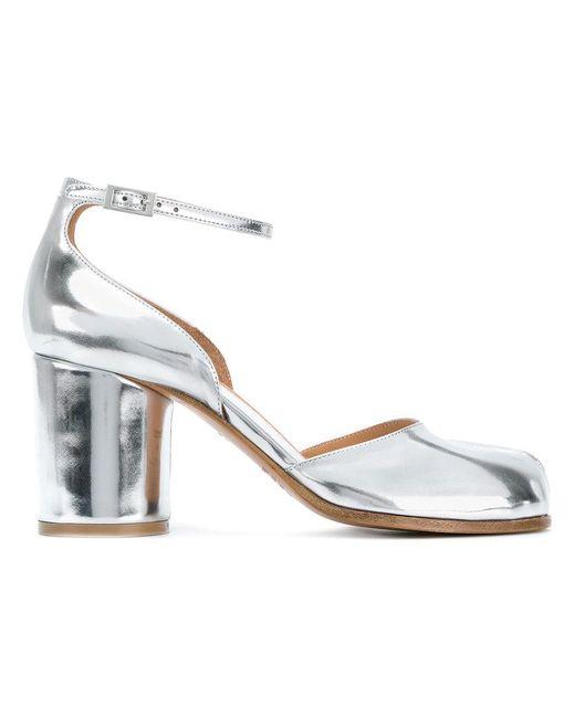 Maison Margiela - Metallic Silver Tabi Sandals - Lyst