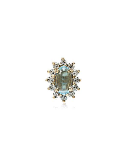 Rosa De La Cruz - Metallic 18k Yellow Gold Diamond Topaz Stud Earring - Lyst