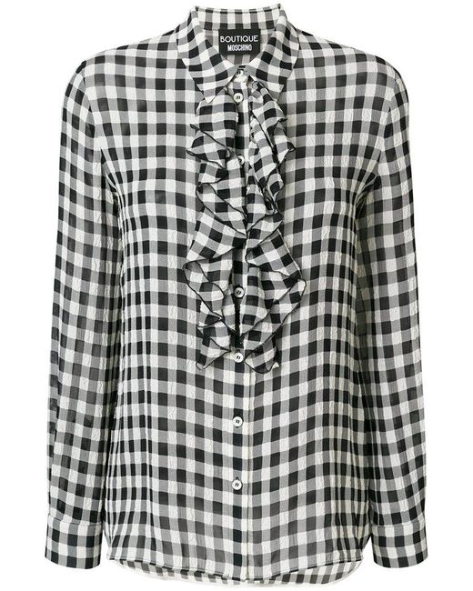 Boutique Moschino | Black Frilled Gingham Blouse | Lyst