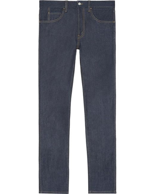 Gucci - Blue Stretch Denim Slim Pant With Tiger for Men - Lyst