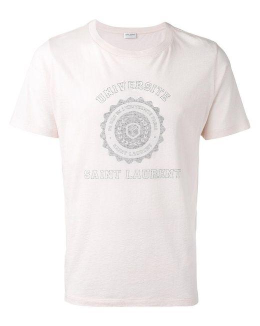 saint laurent universit print t shirt in white for men
